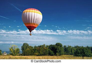 blauer ballon, himmelsgewölbe, bewölkt , luft, heiß