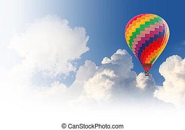 blauer ballon, himmelsgewölbe, heißluft