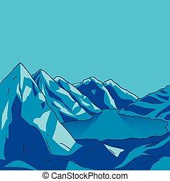 blauer berg, illustration., landschaft., modern, see, vektor, gletscher