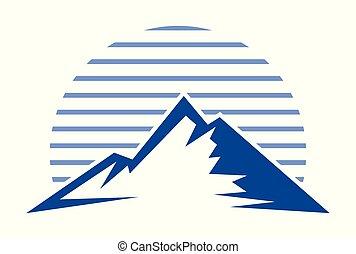 blauer berg, logo, vektor