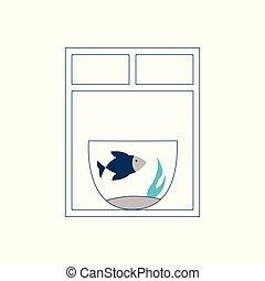 blauer fisch, aquarium, schwimmend, fenster.