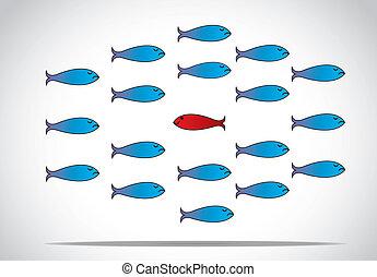 blauer fisch, einmaligkeit, auflehnen, oder, rotes