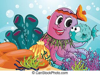 blauer fisch, oktopus
