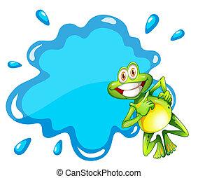 blauer frosch, neben, schablone, lächeln, leerer