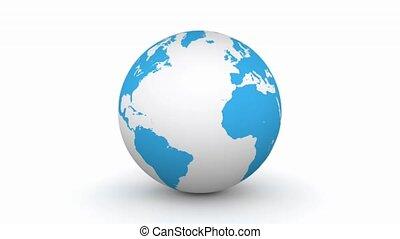 blauer globus, drehung, 3d