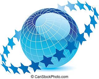 blauer globus, sternen