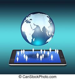 blauer globus, tablette