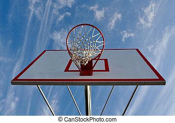 blauer himmel, band, basketball, wolkenhimmel