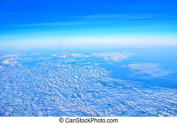 blauer himmel, hohe ansicht, von, motorflugzeug