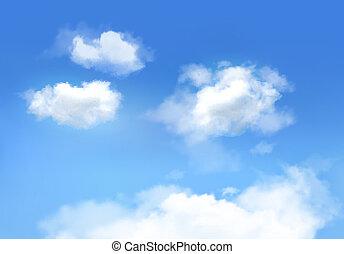 blauer himmel, mit, clouds., vektor, hintergrund