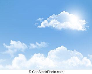 blauer himmel, mit, clouds., vektor, hintergrund.