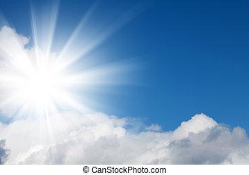 blauer himmel, mit, wolkenhimmel, und, sonne