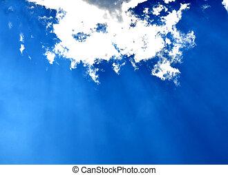 blauer himmel, mit, wolkenhimmel, und, sonne- strahlen