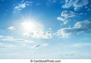blauer himmel, mit, wolkenhimmel, und, sun.