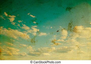 blauer himmel, mit, wolkenhimmel, und, sunlight.