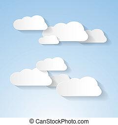 blauer himmel, papier, wolkenhimmel