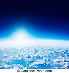 blauer himmel, space., clouds., dunkel, erde, ansicht