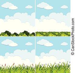blauer himmel, szenen, vier, grüner hintergrund, gras