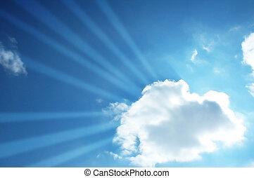 blauer himmel, und, sonne, balken, durch, der, wolke