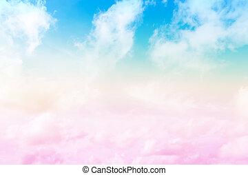 blauer himmel, und, wolke, gemacht, pastell, filter, stil,...