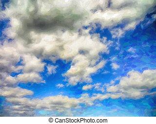 blauer himmel, und, wolkenhimmel, aquarelle