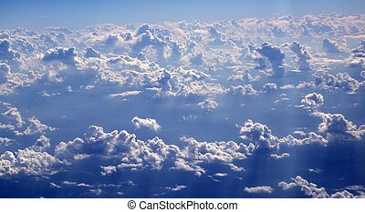 blauer himmel, wolkenhimmel, ansicht, von, aircarft, motorflugzeug