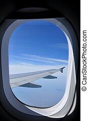 blauer himmel, wolkenhimmel, ansicht, von, flugzeug