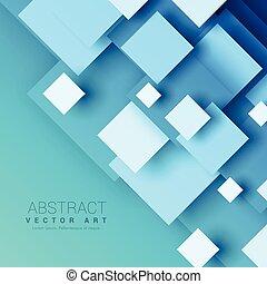 blauer hintergrund, mit, geometrisch, quadrat, formen