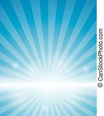 blauer hintergrund, mit, sunburst.