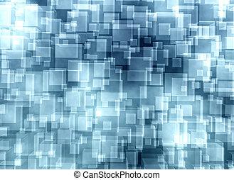 blauer hintergrund, würfel, abstrakt