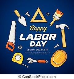 blauer hintergrund, werkzeug, arbeit, vektor, handwerker, tag, glücklich