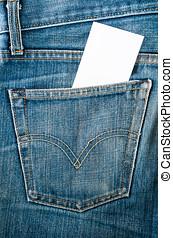 blauer jean, papier, freigestellt, weißes