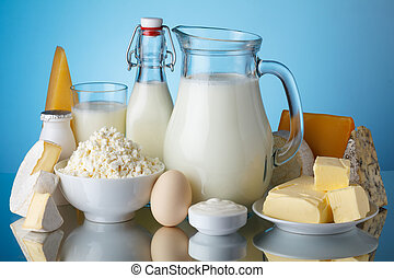 blauer käse, milch, creme, produkte, butter, leben, joghurt...
