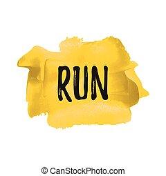 blauer lauf, plakat, karte, gemalt, abbildung, hintergrund., geschrieben, vektor, text, notieren, sport, wörter, logo