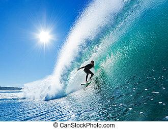 blauer ozean, surfer, welle