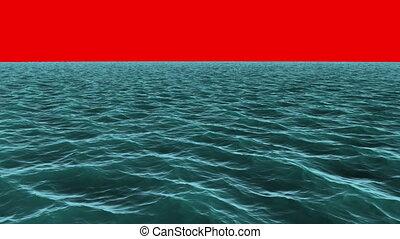 blauer ozean, unter, schirm, rotes , noch