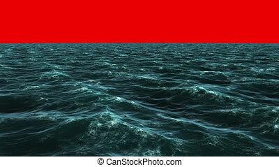 blauer ozean, unter, schirm, rotes , unruhig