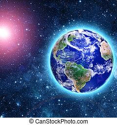blauer planet, kommen, komet, raum