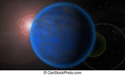 blauer planet, stern, hintergrund, raum