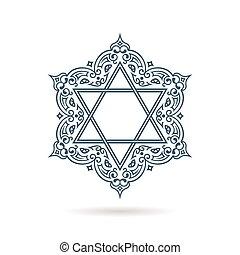blauer stern, david., jüdisch, ornament., vektor,...