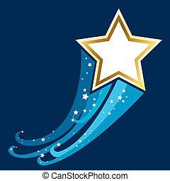 blauer stern, gold, abbildung, design, space., hintergrund, glänzend