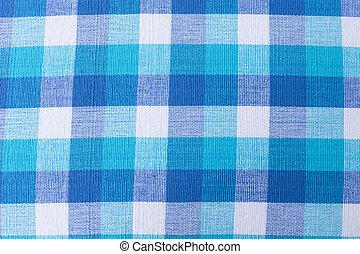 blauer stoff, beschaffenheit, hintergrund, weißes, tischtuch