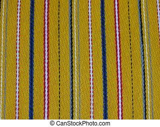 blauer stoff, gelber , weißes, gestreift, rotes