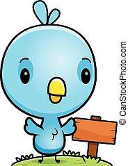 blauer vogel, holz, baby, zeichen, karikatur