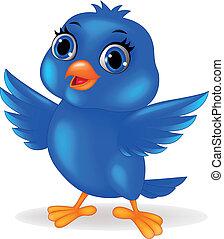 blauer vogel, karikatur