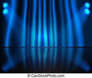 blauer vorhang, beleuchtung, buehne