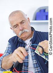 blaues, älter, arbeit, arbeiter, tragen