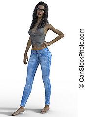 blaues, übertragung, frau, jeans, 3d