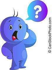 blaues, abbildung, besorgt, vektor, hintergrund, caracter,...
