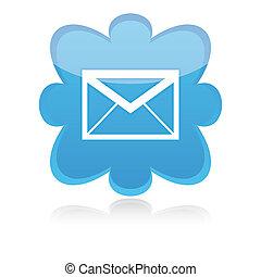 blaues, abbildung, e-mail, vektor, weißer hintergrund, ikone